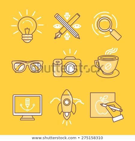 Câmera amarelo o ícone do vetor projeto digital gráfico Foto stock © rizwanali3d