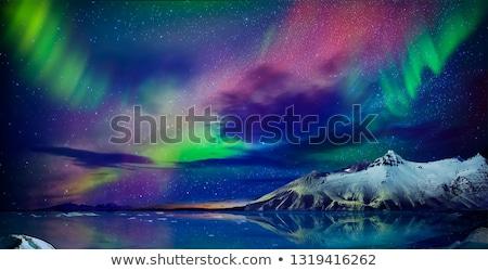 すごい 北方 光 表示 高い 山 ストックフォト © Anna_Om