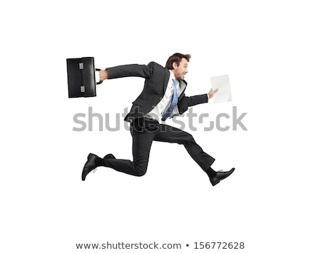 funny businessman with briefcase isolated on white stock photo © elnur