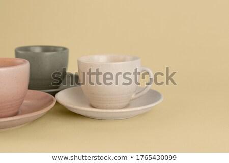 Három kerámia csészék fehér antik konténer Stock fotó © dezign56