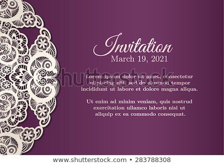 Vintage violet invitation cover with cream lace decoration Stock photo © liliwhite