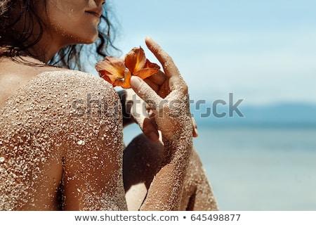 Közelkép nő üdülőhely fürdő portré fiatal Stock fotó © dash