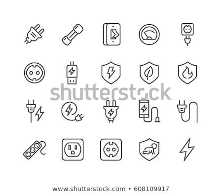 enerji · fiş · vektör · hat · ikon · yalıtılmış - stok fotoğraf © rastudio