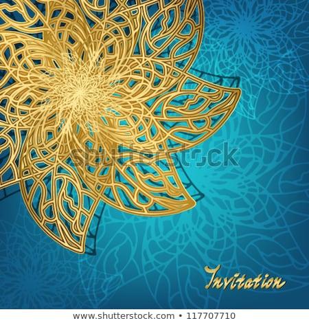 niebieski · kwiatowy · zaproszenie · szablon · ilustracja · obraz - zdjęcia stock © liliwhite