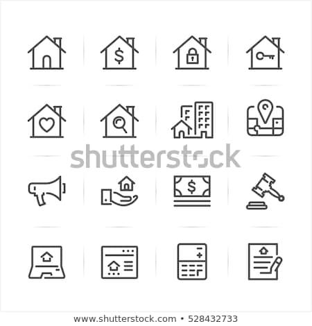 Casa ícone imóveis conjunto site edifício Foto stock © kiddaikiddee