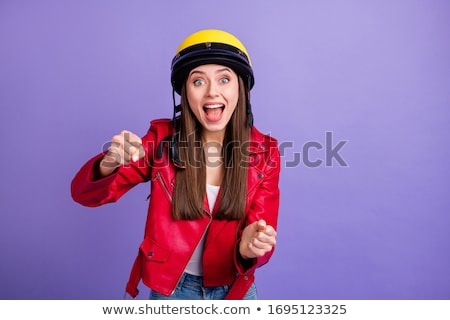 Funny girl with red helmet smiling Stock photo © zurijeta