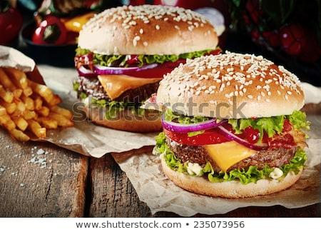 ストックフォト: 2 · おいしい · 牛肉 · ベーコン · レタス