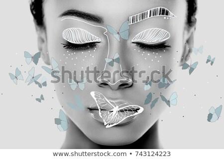 美 · 小さな · 女性 · ベール · 青 - ストックフォト © deandrobot