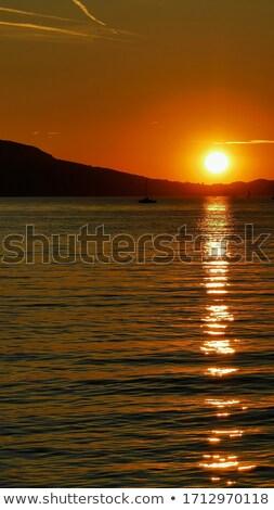 Balaton coucher du soleil vue lac Hongrie nuages Photo stock © LIstvan