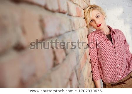 ターコイズ · レンガ · 背景 · 壁 · 石 · ひびの入った - ストックフォト © filipw