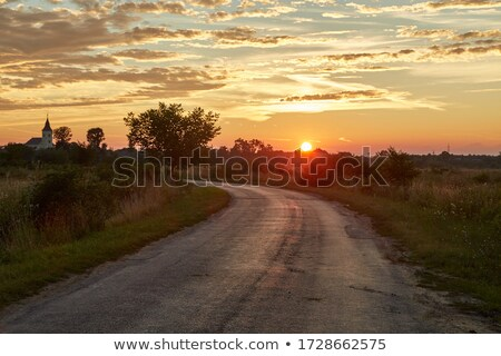 village at sunset Stock photo © tracer
