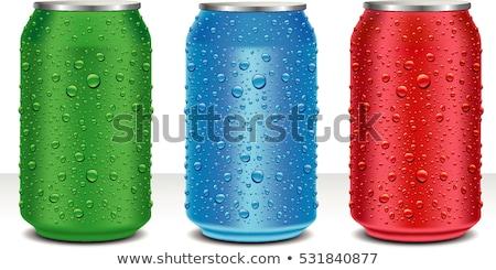 vermelho · alumínio · gotas · de · água · lata · alumínio - foto stock © kayros