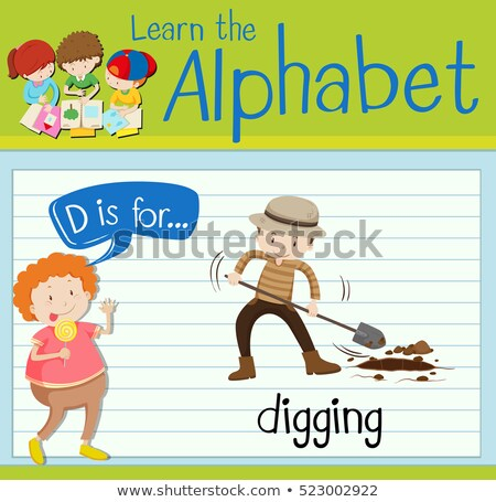 Flashcard letter D is for dig Stock photo © bluering