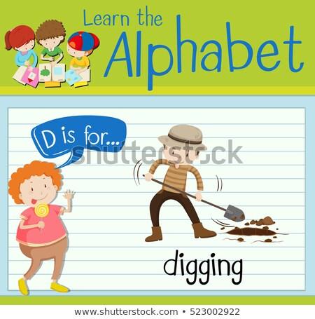 D betű ásatás illusztráció férfi gyerekek gyermek Stock fotó © bluering