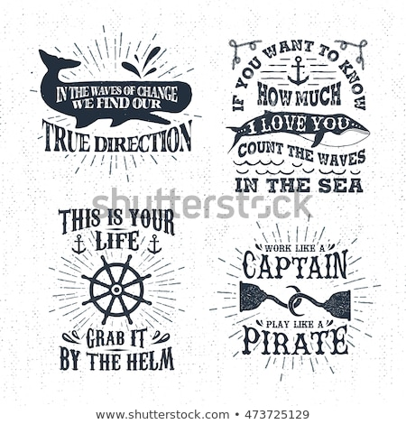 Set of vintage handcrafted pirates emblems, labels, logos. Isolated on a scratched paper background. Stock photo © JeksonGraphics