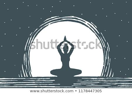 девушки йога лунный свет иллюстрация тело подготовки Сток-фото © adrenalina