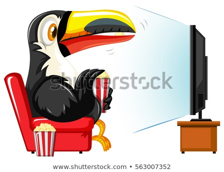 Toucan watching television on red sofa Stock photo © bluering