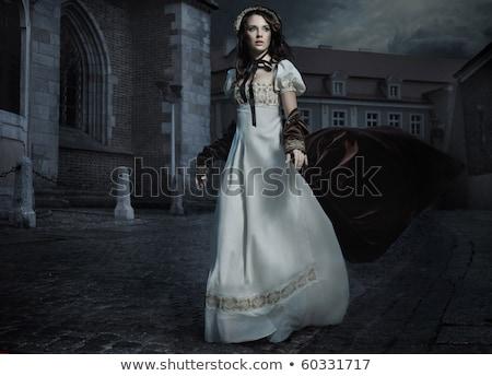 atraente · mulher · jovem · marrom · vestir · foto · em · pé - foto stock © konradbak