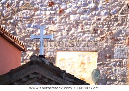 Fotografia piękna krzyż kamień cegieł ściany Zdjęcia stock © Massonforstock