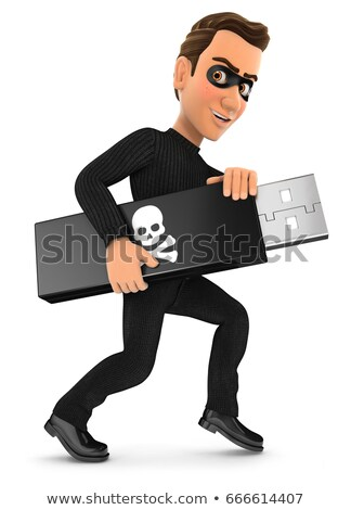 3d thief holding usb key Stock photo © 3dmask
