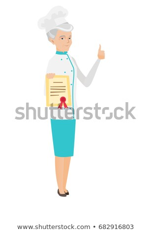 Senior chef showing a certificate and thumb up. Stock photo © RAStudio