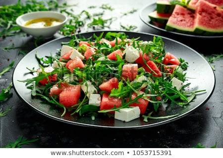 夏 · スイカ · サラダ · 健康 · フェタチーズ · 新鮮な - ストックフォト © m-studio