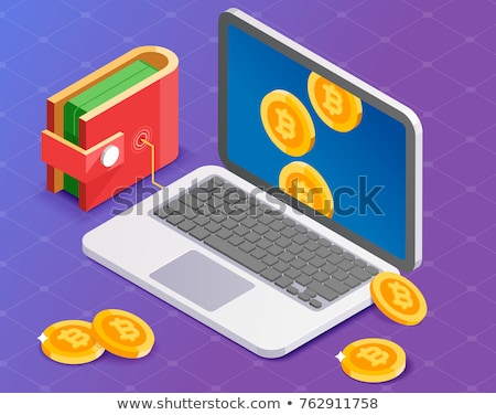Crypto currency purse.  bitcoin in pouch. Virtual money. Vector  Stock photo © MaryValery