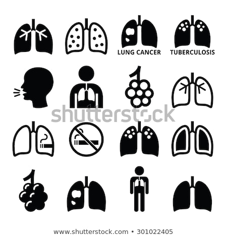 icon of lung disease black stock photo © olena