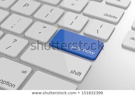 Kék illetmény most gomb billentyűzet írott Stock fotó © tashatuvango
