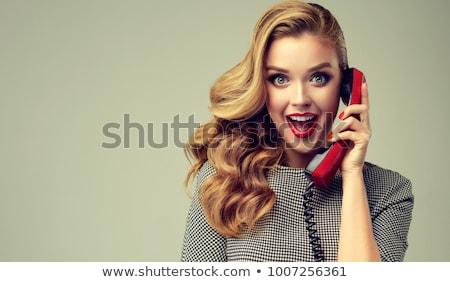 retro · telefonu · kobieta · zdziwiony · przestrzeni · półtonów - zdjęcia stock © balasoiu