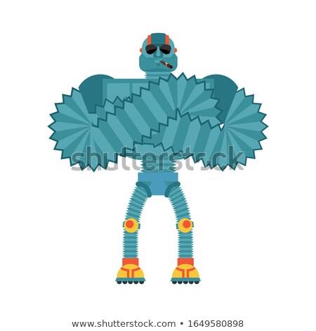 robot strong cool serious cyborg smoking cigar emoji robotic m stock photo © popaukropa