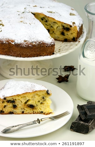 italian cake with ricotta pears and drops of chocolate stock photo © stefanoventuri