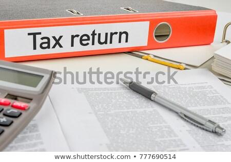 Narancs mappa címke adó visszatérés üzlet Stock fotó © Zerbor