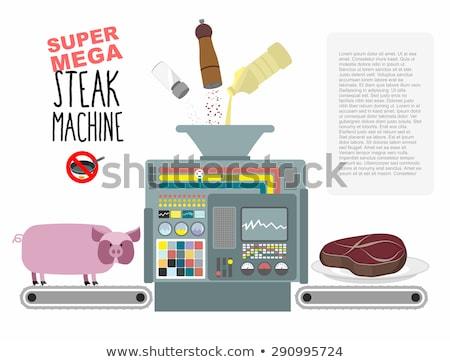 Stock fotó: Szuper · mega · steak · gép · gyártás · közzététel