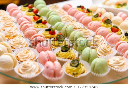 french macaroons on cake tray stock photo © sandralise