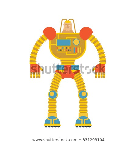 Space invader soldier Cyborg Android from future. Iron robot wit Stock photo © popaukropa