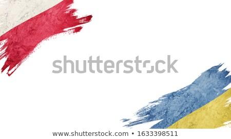 Conflicto Ucrania Polonia rectangular banderas oscuro Foto stock © romvo