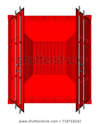 Foto stock: Ilustração · 3d · recipiente · porta · isolado · metal
