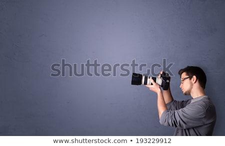 Retro Shooting Man Photographer shooting Stock photo © FreeProd