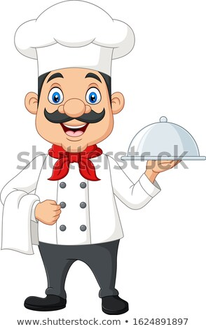 Chef Gesture Delicious and Holding a Cloche Platter Tray Stock photo © derocz