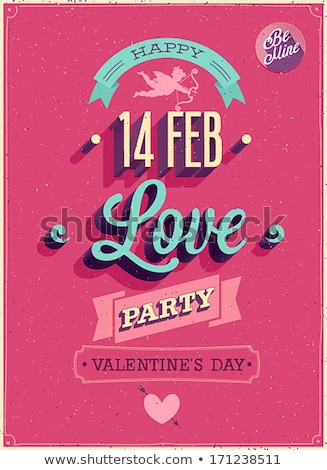 vector valentines day party flyer illustration with typography and red heart on pink background cel stock photo © articular