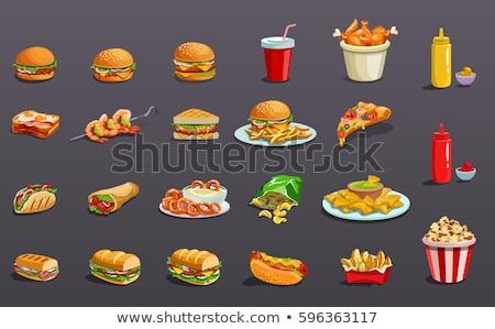 fast · food · cheeseburger · drinken · illustratie · clipart · afbeelding - stockfoto © bluering