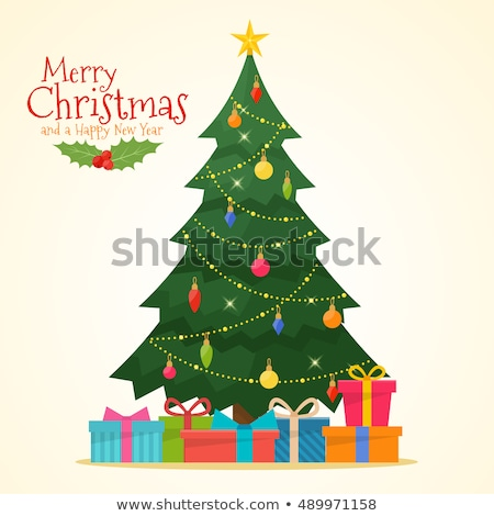 Red christmas tree vector illustration. Stock photo © Vicasso