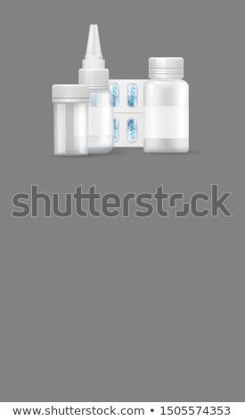 Gyógyszertár poszter cseppek hólyag kapszulák kapszula Stock fotó © robuart