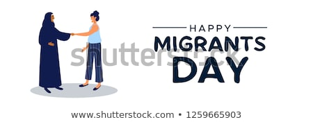 International Migrants Day card of diverse women Stock photo © cienpies