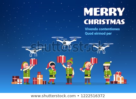 Santa Claus delivery service. Santa with a team of elves and a p stock photo © IvanDubovik