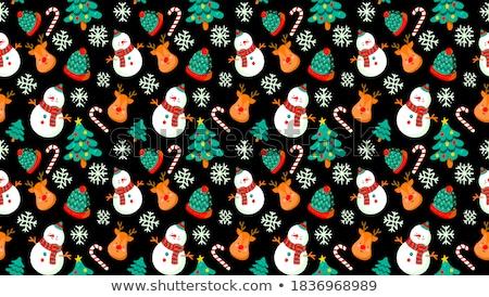 Sin costura muñeco de nieve reno ilustración árbol fondo Foto stock © colematt