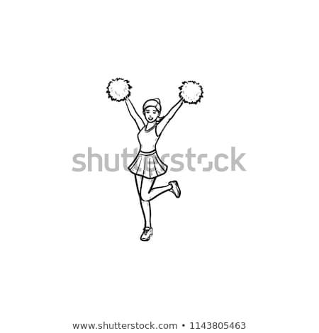 springen · cheerleader · meisje · geïsoleerd · witte · cute - stockfoto © rastudio
