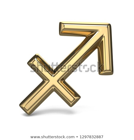 golden zodiac sign sagittarius 3d stock photo © djmilic