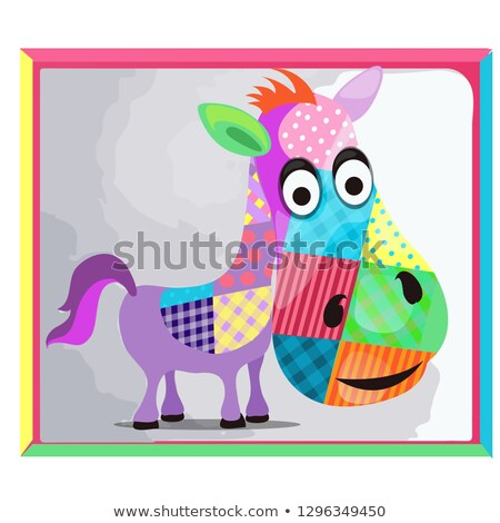 Childrens picture with a picture of a donkey made of colorful patches. Vector cartoon close-up illus Stock photo © Lady-Luck
